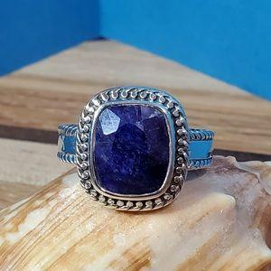 Corundum Sapphire & Sterling Ring 4ct Size 9